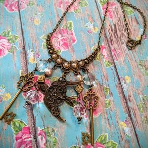 Jewelry - Nwt Handcrafted Steampunk Charmed Necklace
